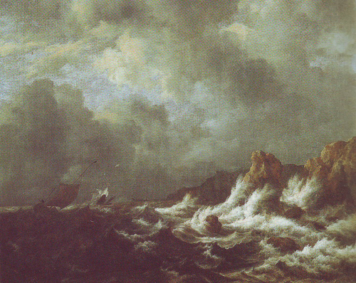Rough sea with sailing vessels off a rocky coast